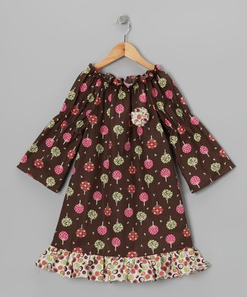 Brown Forest Peasant Dress - Toddler & Girls