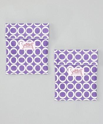Smitten Baby Aubergine Flip It Snack Bag - Set of Two