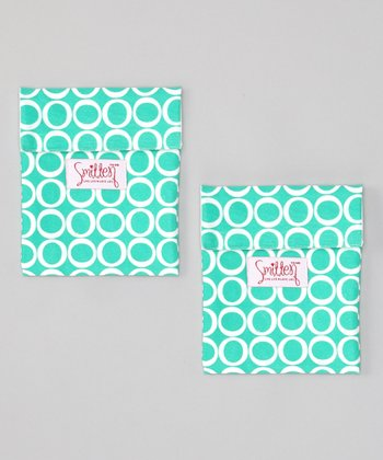 Smitten Baby Teal Time Flip It Snack Bag - Set of Two