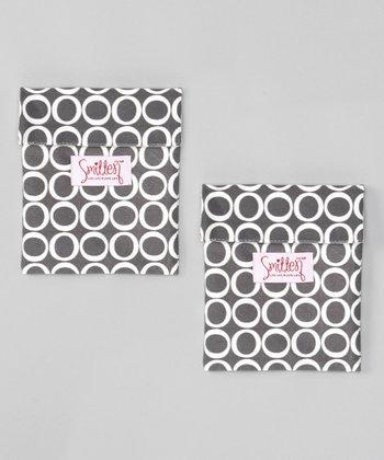 Smitten Baby Pewter Flip It Snack Bag - Set of Two