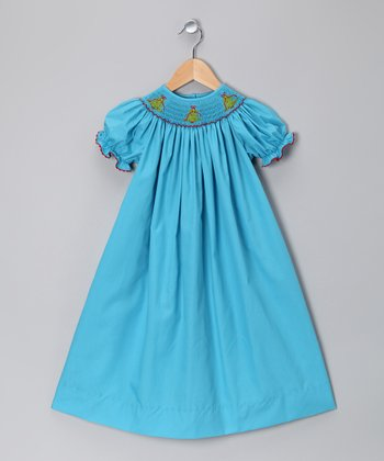 Blue Christmas Tree Bishop Dress - Infant, Toddler & Girls
