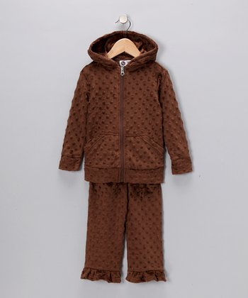 Brown Minky Zip-Up Hoodie & Pants - Infant, Toddler & Girls