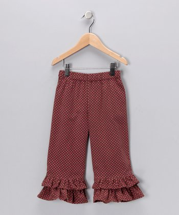 Brown & Pink Polka Dot Corduroy Pants - Infant, Toddler & Girls