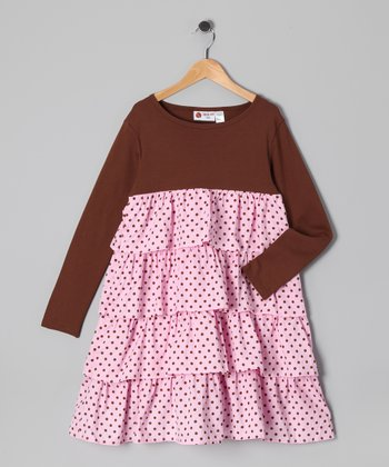 Brown & Pink Polka Dot Ruffle Dress - Infant, Toddler & Girls