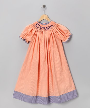Smocked Spirit Orange Clemson Bishop Dress - Infant, Toddler & Girls