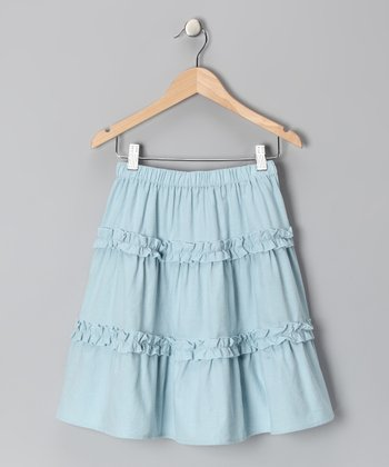 Light Blue Corduroy Ruffle Skirt - Toddler & Girls
