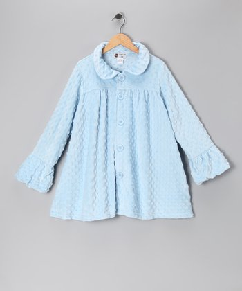 Light Blue Minky Swing Coat - Infant, Toddler & Girls