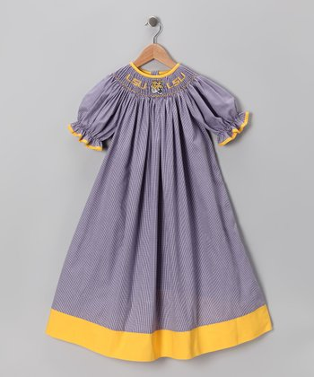 Smocked Spirit Purple LSU Bishop Dress - Infant, Toddler & Girls
