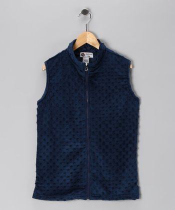 Navy Minky Vest - Infant, Toddler & Girls