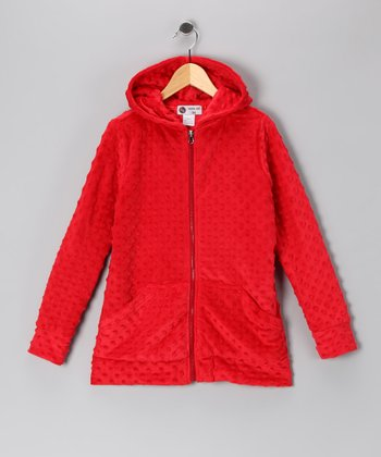 Red Minky Zip-Up Hoodie - Infant & Toddler