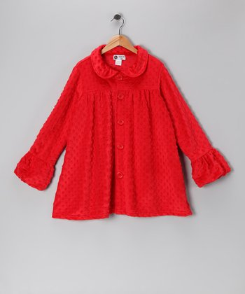 Red Minky Swing Coat - Infant, Toddler & Girls