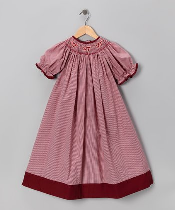 Smocked Spirit Maroon Virginia Tech Bishop Dress - Infant, Toddler & Girls