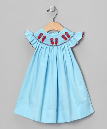 Aqua Flip-Flop Smocked Bishop Dress - Infant, Toddler & Girls
