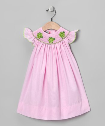 Pink Turtle Smocked Bishop Dress - Infant, Toddler & Girls