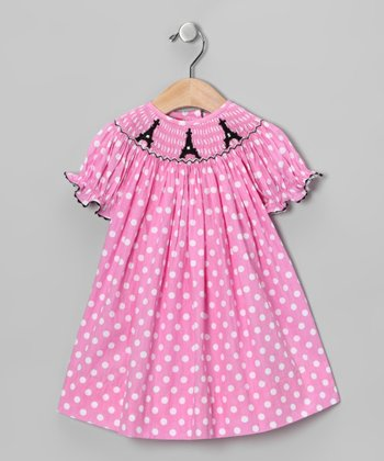 Pink Polka Dot Paris Bishop Dress - Infant, Toddler & Girls