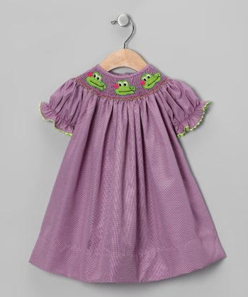 Purple Alligator Smocked Bishop Dress - Infant, Toddler & Girls