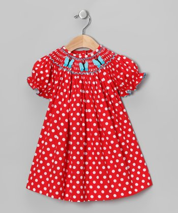Red Polka Dot Butterfly Bishop Dress - Infant, Toddler & Girls