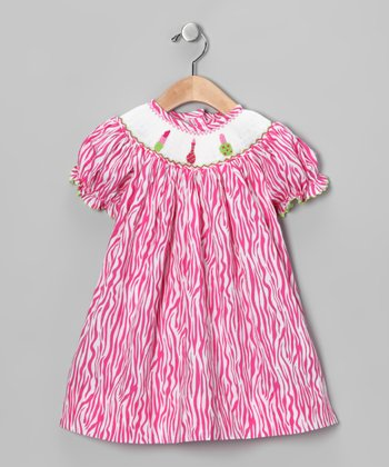 Pink Zebra Make-Up Smocked Bishop Dress - Infant, Toddler & Girls