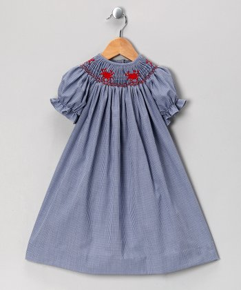 Navy Gingham Crab Bishop Dress - Infant, Toddler & Girls