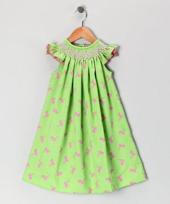 Mariana Flamingo Geometric Angel-Sleeve Dress - Infant