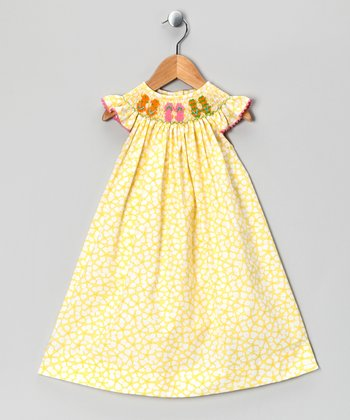 Yellow Flip Flop Angel-Sleeve Dress - Infant, Toddler & Girls