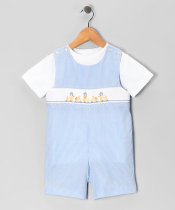 White Tee & Blue Duck John Johns - Toddler
