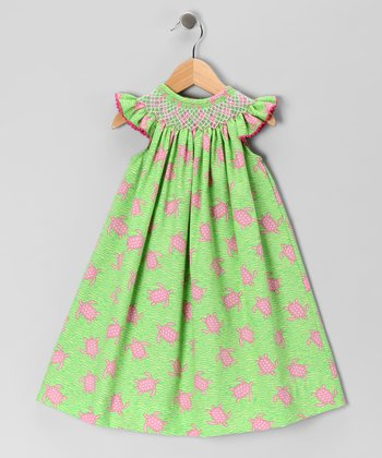Mariana Turtle Geometric Angel-Sleeve Dress - Infant