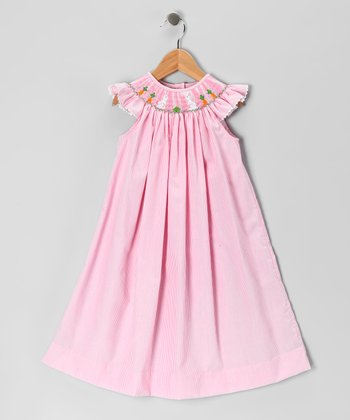 Pink Stripe Bunny Angel-Sleeve Dress - Infant, Toddler & Girls