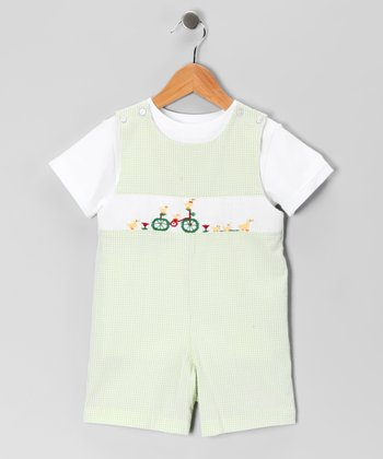 White Tee & Green Bike John Johns - Toddler