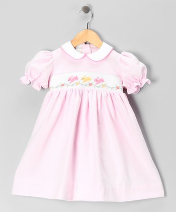Pink Bunny Smocked Puff-Sleeve Dress - Toddler & Girls