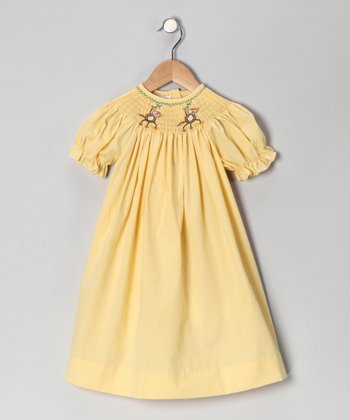 Yellow Monkey Swinging Bishop Dress - Infant & Toddler