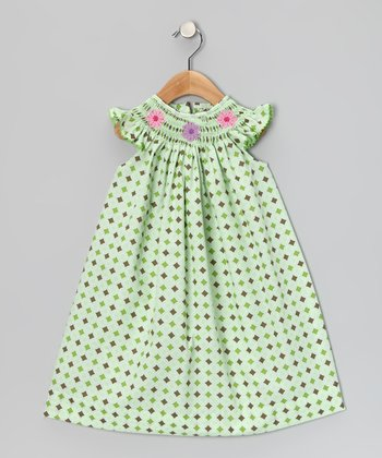 Green Flower Angel-Sleeve Dress - Infant & Toddler