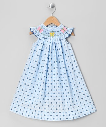 Blue Butterfly Angel-Sleeve Dress - Infant, Toddler & Girls
