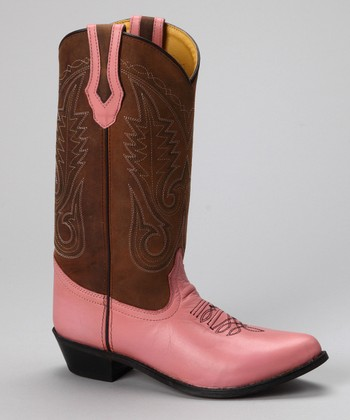 smoky mountain boots brown pink rosewood cowboy boot
