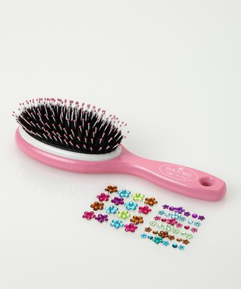 Pink Flower No-Cry Hairbrush Set