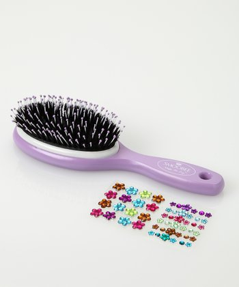 Purple Flower No-Cry Hairbrush Set