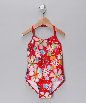 SnapMe Swimwear Ruby Red Tropic One-Piece - Toddler