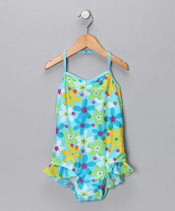 SnapMe Swimwear Hawaiian Blue One-Piece - Toddler