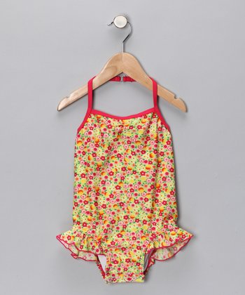 SnapMe Swimwear Peach Orchard One-Piece - Toddler