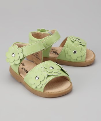 Lime Green Triple-Flower Sandal