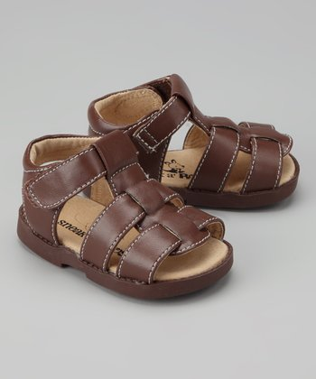 Brown Contrast-Stitch Fisherman Sandal