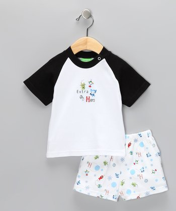 White & Black 'Extra Hero' Tee & Shorts - Infant