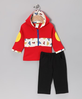 Red Car Hoodie & Black Pants - Infant