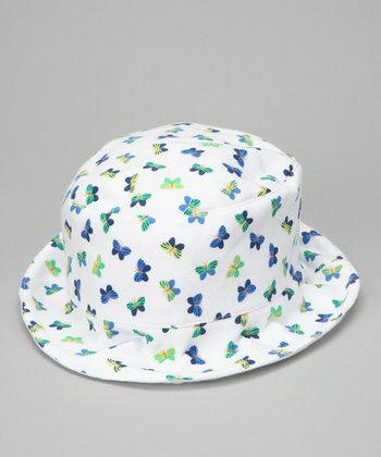 White & Green Butterfly Bow Sunhat