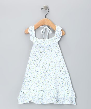 White Baby Bluebells Halter Dress
