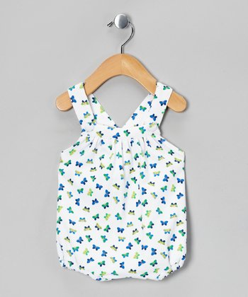 White & Green Butterfly Bow Bodysuit