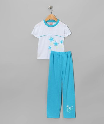 Blue & White Flower Pajama Set - Toddler