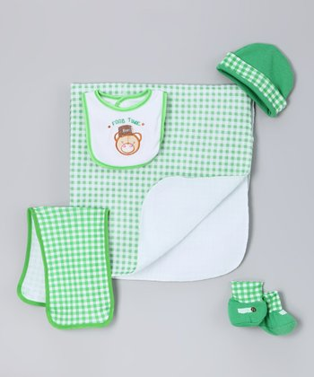 Green Bear Blanket Set