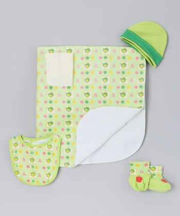 Green Bird Blanket Set