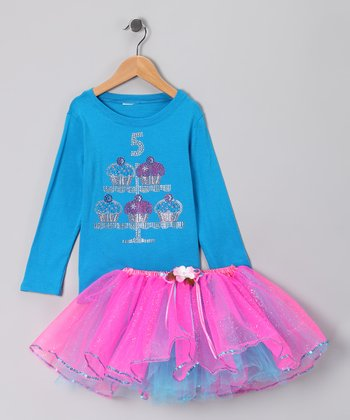 Blue '5' Cupcake Tee & Tutu - Girls